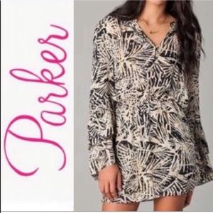 Parker Silk Double Flare Sleeve Printed Dress